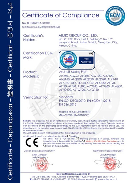 CE certificate of Asphalt Hot Plant